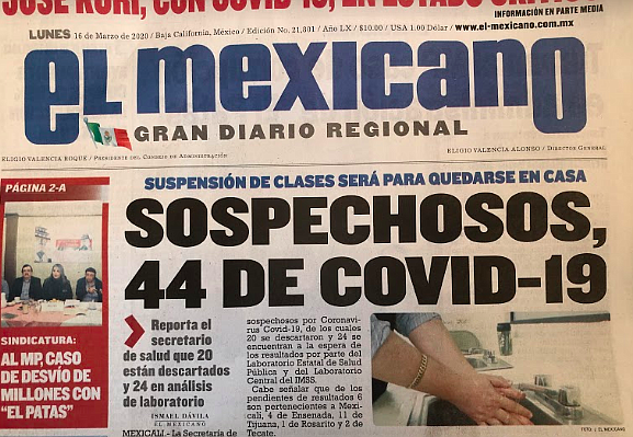 The newspaper El Mexicano reported 44 cases of COVID-19.
