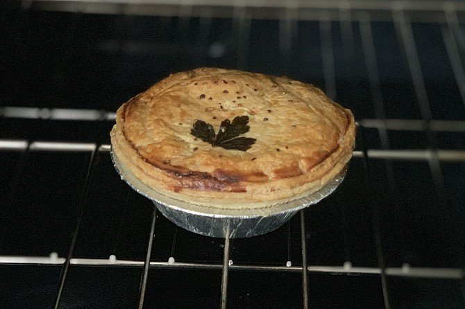 A Pop Pie Co. chicken pot pie, ready to come out of the oven