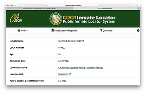 Inmate locator page.