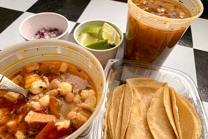Two quarts of pork belly pozole rojo, plus tortillas and garnishes