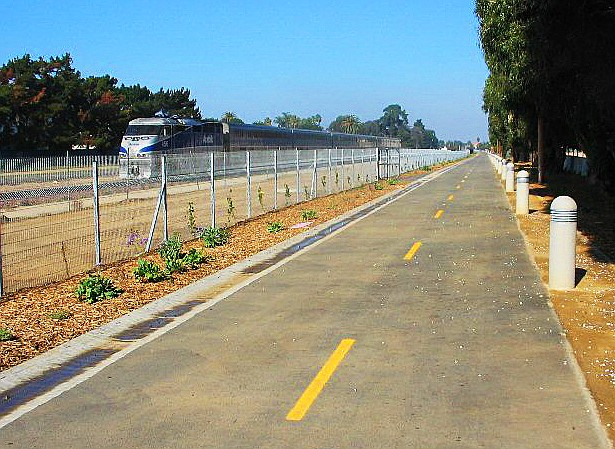 Carlsbad's Coastal Rail Trail runs along the length of town, it's entire length is paved and flat, so roller bladers, skateboarders and bicyclers have it easy.