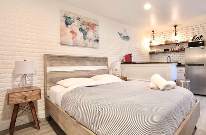 Pacific Beach studio for $49/night listed on Airbnb