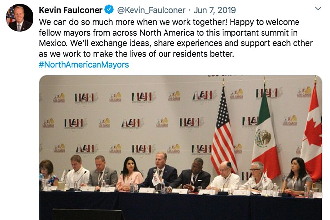 The Mexican government forked over $1170 to cover Kevin Faulconer's June 2019 trip to Los Cabos for the North American Mayors' Summit.