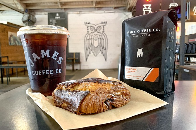James coffee beans and cold brew to go, plus an impulse buy pastry