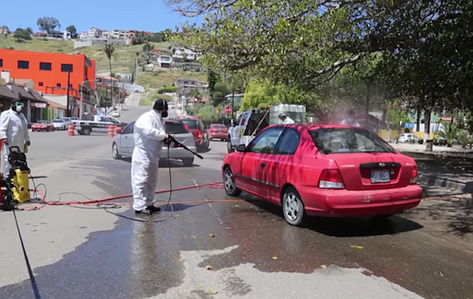 They sanitized more than 400 vehicles with about 200 liters of chlorine.