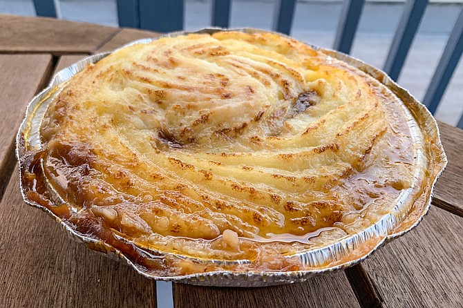 Shepherd's pie: ground meat and vegetable stew topped with mashed potatoes