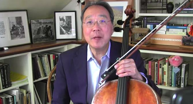 Yo-Yo Ma announcing his performance of Bach from Boston's WGBH on May 24.
