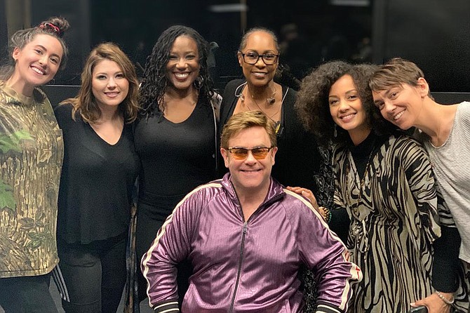 Local musician Rebecca Jade, second from right, performed with Elton John and his backup singers at the Academy Awards in February.