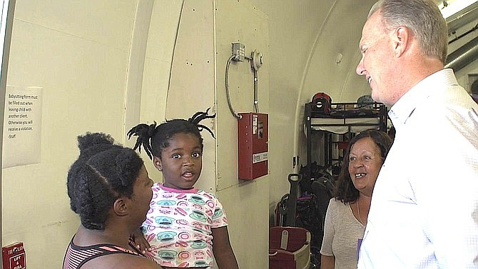 Faulconer during a tour of a downtown homeless shelter.