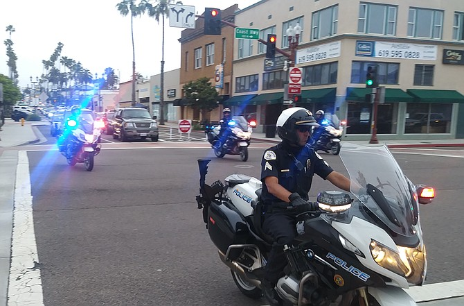 Oceanside motorcycle police following an Oceanside Black Lives Matter march.