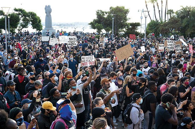 People gathered at the San Diego County Administration Center on May 31.