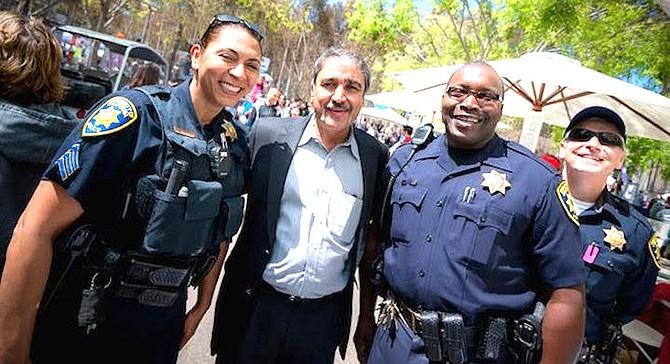 Chancellor Pradeep Khosla with campus police