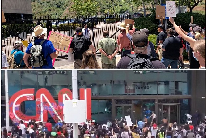 1. Top picture has unvandalized network logo and intact windows. 2. Top photo features network founder respectfully dialoguing with protesters. 3. Network in top photo is upfront about its partisan political allegiance. 4. Network in top photo has not succumbed to violence wrought by the very mob it rushed to defend and even lionize.