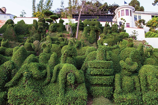 Harper's Topiary Garden: The hilly front slope in front of Alex and Edna Harper's home has for more than 25 years been a living sculpture garden.