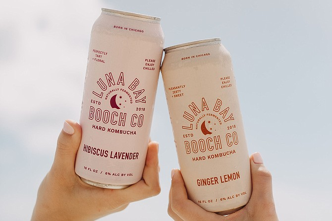 "The cans say ""Born in Chicago,"" but the idea for Luna Bay Booch was born in the waves of San Diego."
