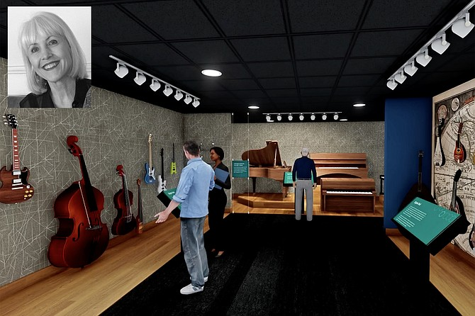 An artist's rendering of the Museum of Making Music's new design.; Inset: Museum director Carolyn Grant came to music early and passionately.