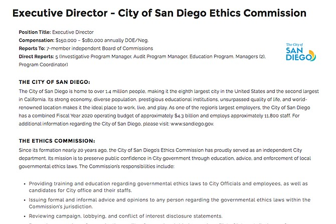 San Diego Ethics Commission has issued a job notice for Stacey Fulhorst's replacement, with a series of qualifications that differ from Fulhorst's record.