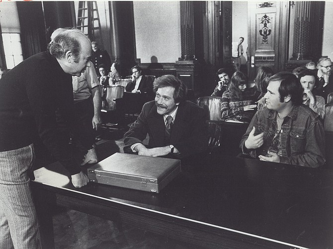 """On the set of """"Where's Poppa?"""", 1970.  L to R: Director Carl Reiner, George Segal, Penny Marshall, Rob Reiner"""
