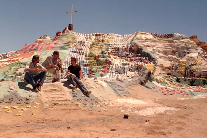 Tennis, Anyone…?: Kirk Fox, Danny Trejo, and Donal Logue pay a visit to Salvation Mountain before hitting the courts.