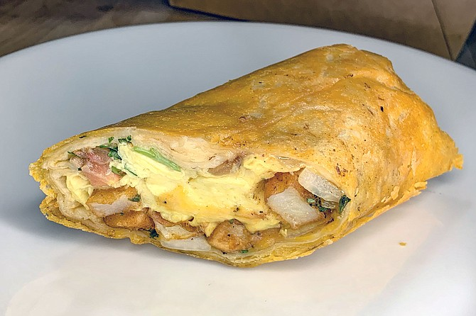 The Loco Lopez 'queso burro': a breakfast burrito enveloped in griddled cheese