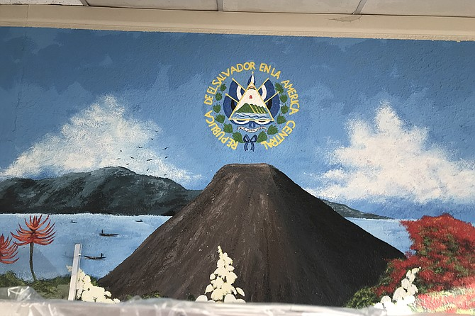 Land of volcanoes. Salvadoran art dominates interior.