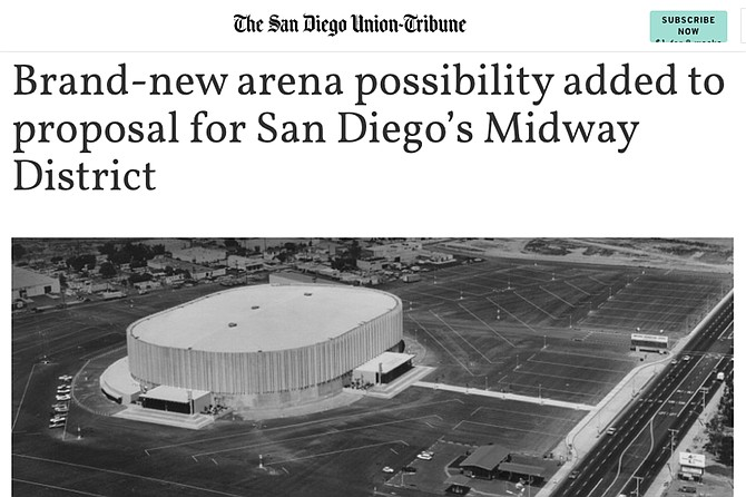 """A development group led by Toll Brothers Housing initially proposed a $125 million renovation of the existing arena, but recent public feedback prompted the group to decide a new arena costing $300 million to $600 million is an option,"" the Union-Tribune reported August 1."