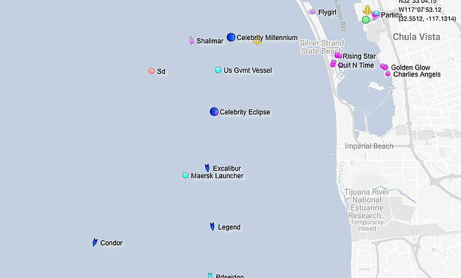 Vessels off the Silver Strand as of Aug. 16
