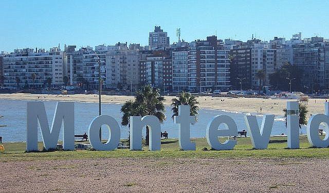 The iconic beachfront Montevideo sign along La Rambla.