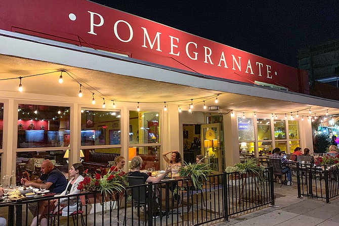Pomegranate sidewalk seating, a great place for evenings spent in conversation