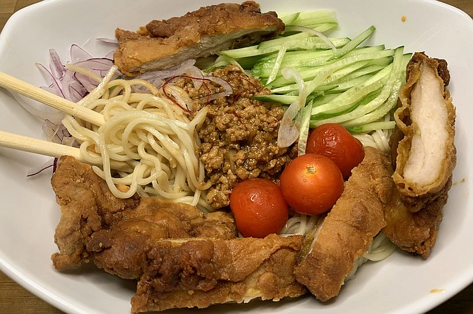 Cold tantan men ramen with paiko chicken cutlet, from Menya Ultra