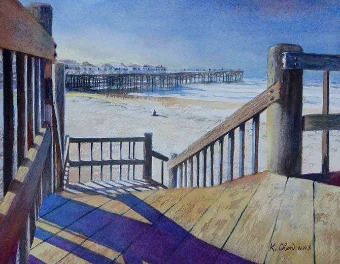 Oceanfront by Keming Chen is one of many paintings at San Diego Watercolor Society's Lay It On Thick exhibition.