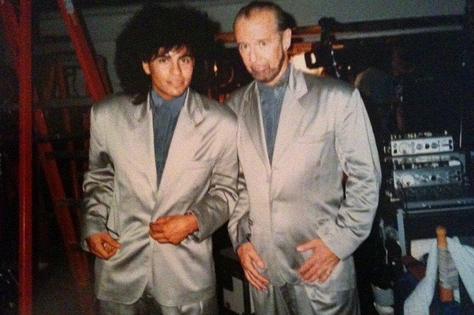 Guitarist Stevie Salas on the Bill & Ted film set with George Carlin.
