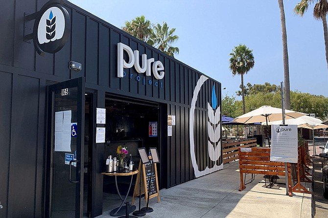 Pure Project's new taproom and patio, next to the Carlsbad Village train station