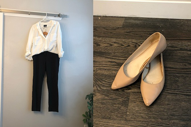Claire's classic white button up and stretchy slacks helped her land a new job during the pandemic.