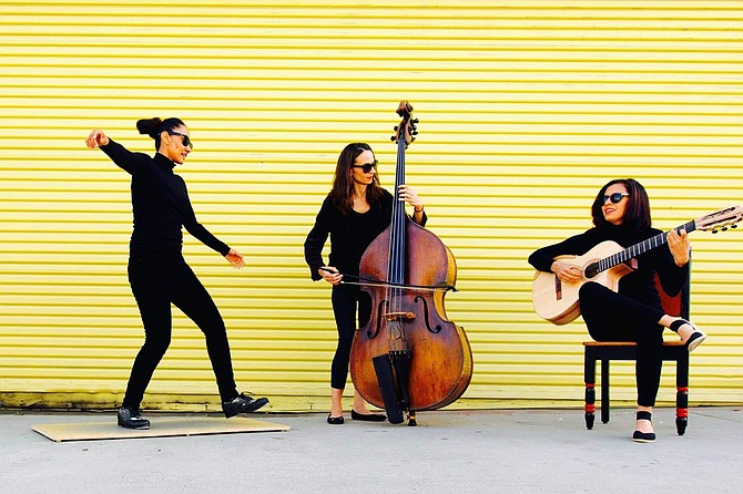 """Besos de Coco: Claudia Gomez on tap/percussion, Evona Wascinski on bass, and Lorraine Castellanos on vocals and guitar. """"Oh my gosh, that was such a blast."""" Gomez says."""