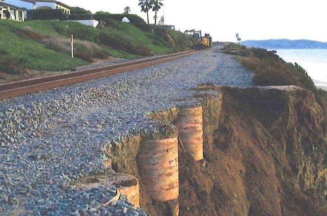 Rail bed after slide, November, 2019