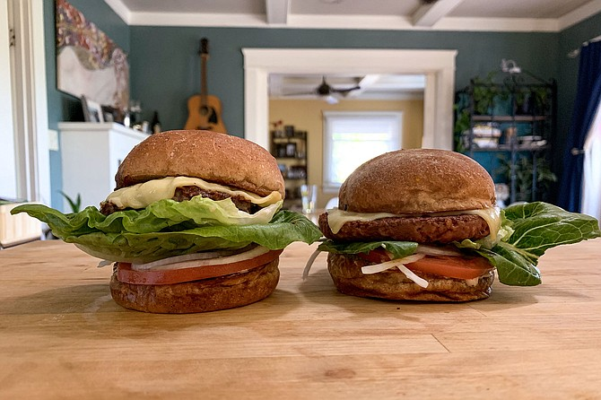 Burger Lounge's grass-fed beef burger (left), and new plant-based burger (right)