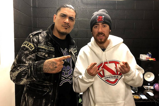 """Local rapper Cesar """"Crhymes"""" Tellez (left) recently released a collaboration with Ryan Bowers, who took his own life shortly after"""