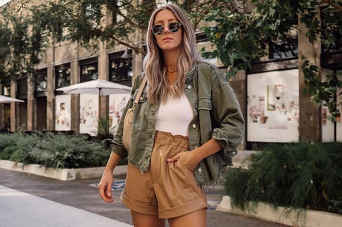 Sunglasses: Amazon, Bodysuit: Abercrombie, Jacket: Zara, Purse: Lulus, Shorts: Abercrombie