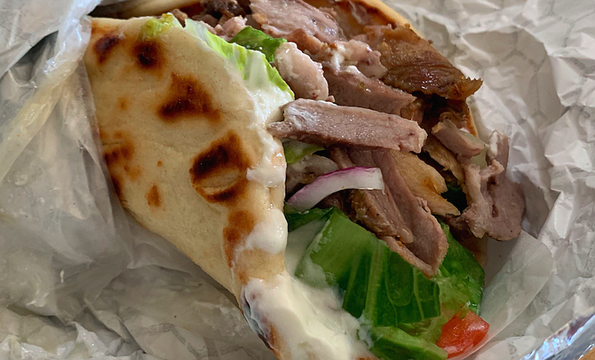 A gyro made with pork, the way they do in Greece