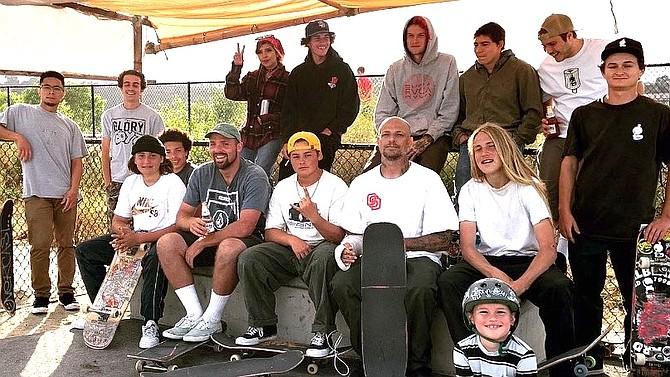 """Josh Carson (bald, in T-shirt): Police """"used to show up and give out tickets to kids who were skating without helmets."""""""