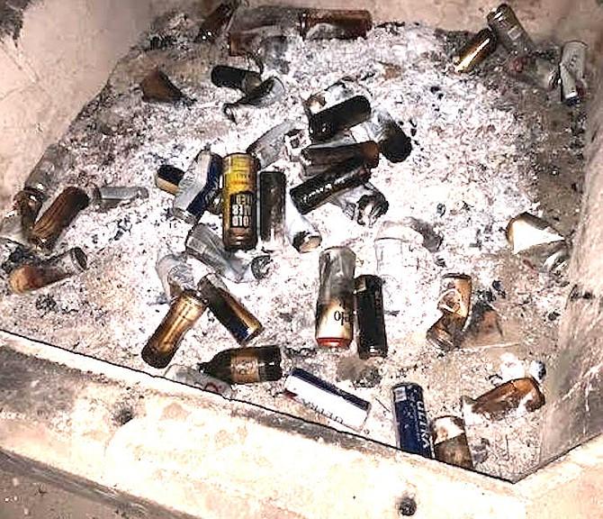Bottles in fire pit