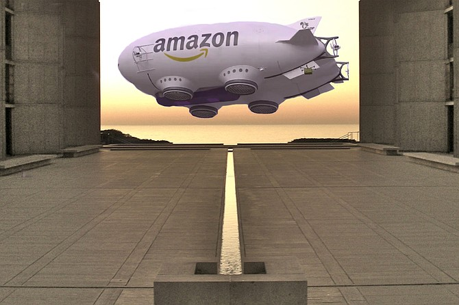 "Dread Zeppelin? Artist's rendering of Bezos Blimp taking off from La Jolla to disperse Final Climate Solution through the atmosphere. ""Here at Amazon, it's always Day One,"" says Bezos. ""Or, as some people have put it, The Beginning."""