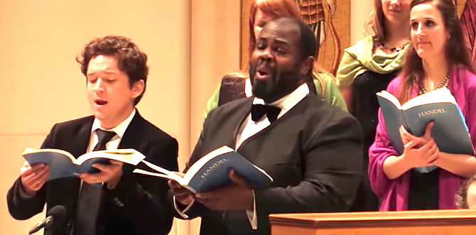 """Bach Collegium members singing """"O death, where is thy sting?"""""""