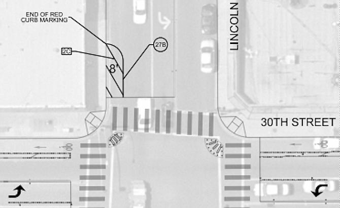 Part of plan showing 30th and Lincoln