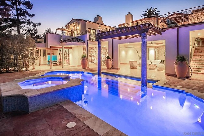 A little piece of Xanadu: the pool reportedly features tile taken from Hearst Castle.
