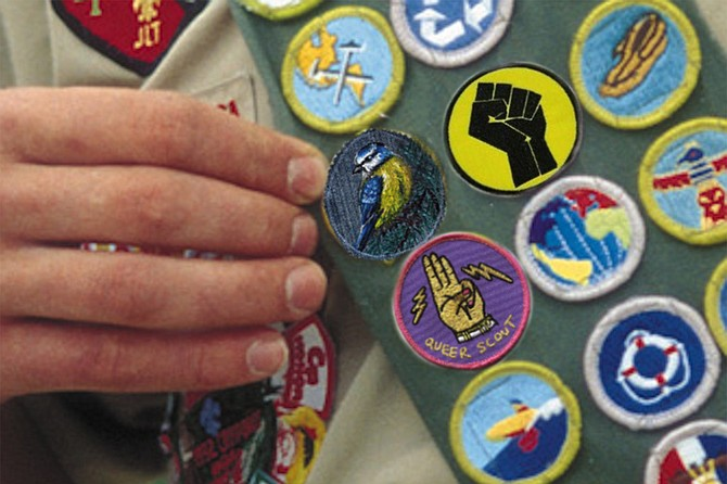 """Gynous proudly points to their new Titmouse Scout patch, along with the Queer Scout and Black Lives Matter patches they earned this summer. """"I got them both during a field expedition to Portland,"""" they report. """"That was quite a weekend."""""""