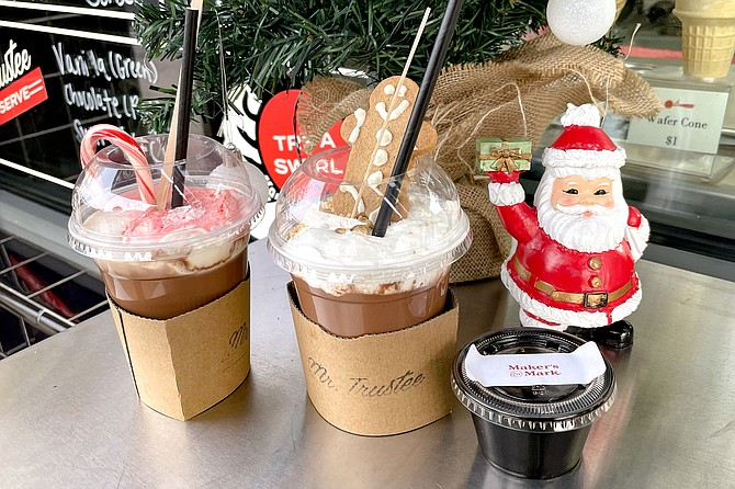 Candy cane hot chocolate, marshmallow hot chocolate, and mulled cider