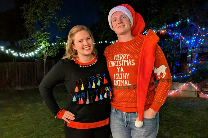 Jenna and Spencer felt festive in their ugly Christmas sweaters.