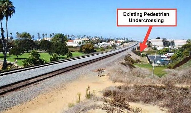Illegal crossing in Oceanside (in foreground), 400 feet south of legal underpass